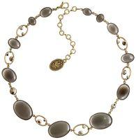 Oval in Concert Halskette steinbesetzt in grau