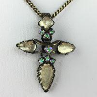 Konplott Dracula Halskette mit Anhänger kurz beige, Kreuz #5450543609836