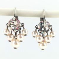 Pearl Shadow crystal 5 Perlen Ohrhänger mit Klappverschluss