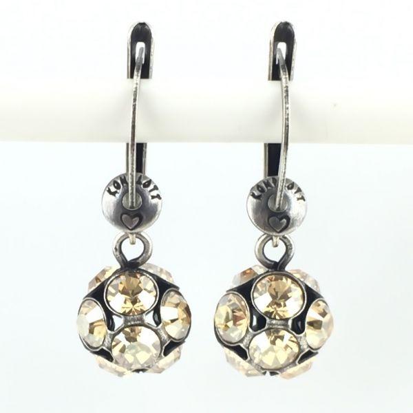 Konplott Disco Balls crystal golden shadow Ohrhänger mit längl. Verschluss #5450527640701