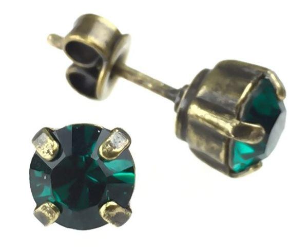 Konplott Black Jack Ohrstecker eckig in Emerald, dunkelgrün #5450527123860