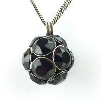 Disco Balls schwarze Halskette lang mit Anhänger L