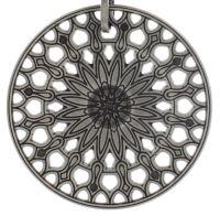 Rosone Halskette mit Anhänger Größe XL in schwarz