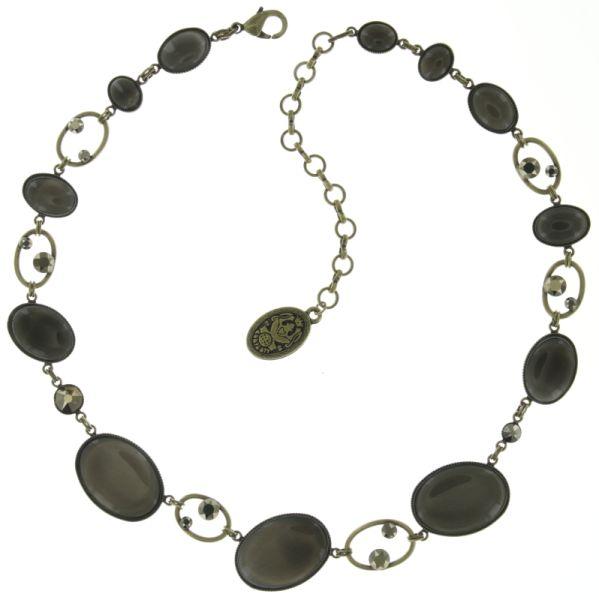Konplott Oval in Concert Halskette steinbesetzt in grau #5450543697734