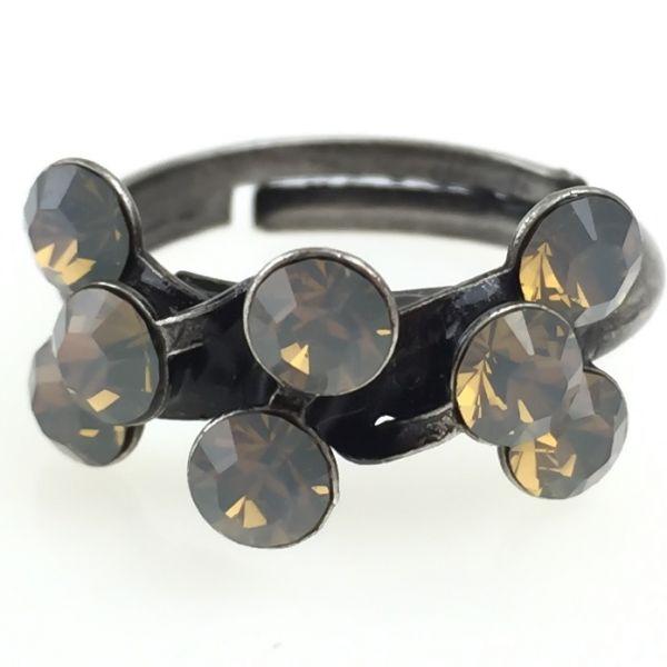 Magic Fireball 8 Stein Ring in light grey opal