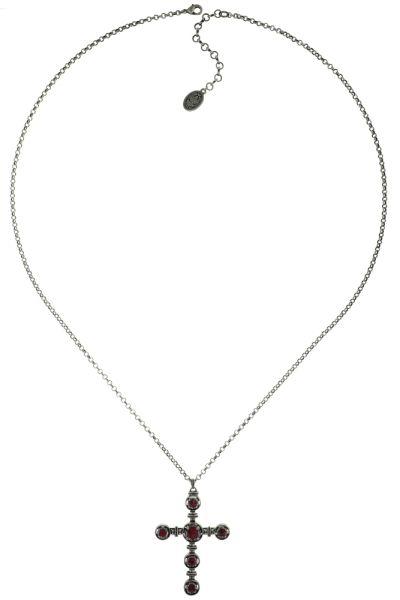Konplott Medieval Pop Halskette lang mit Anhänger Kreuz, rosa Steine #5450543635200