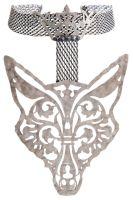 Konplott The Fox Choker silber Fuchs mit Krone, schwarze Steine #5450543693132