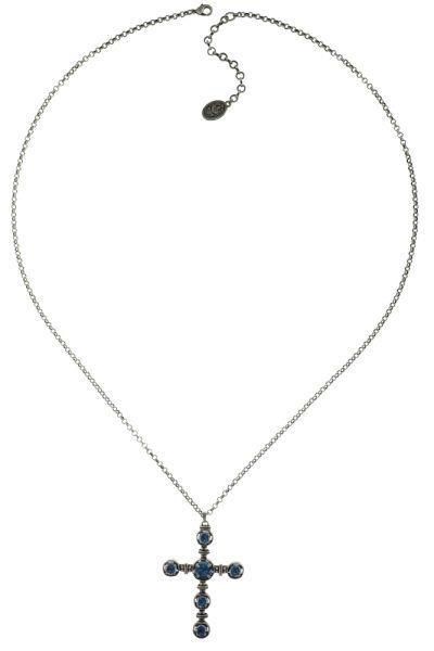 Konplott Medieval Pop Halskette lang mit Anhänger Kreuz, blaue Steine #5450543634562